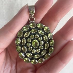 Anthro Sterling Silver Peridot Pendant Necklace